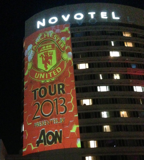 Manchester United lighting projection on Novotel