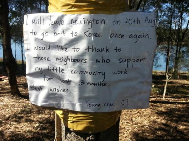 Sign by Mr Young on tree