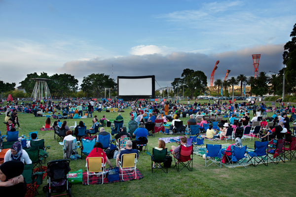 Movies By The Boulevard Crowd At Cathy Freeman Park