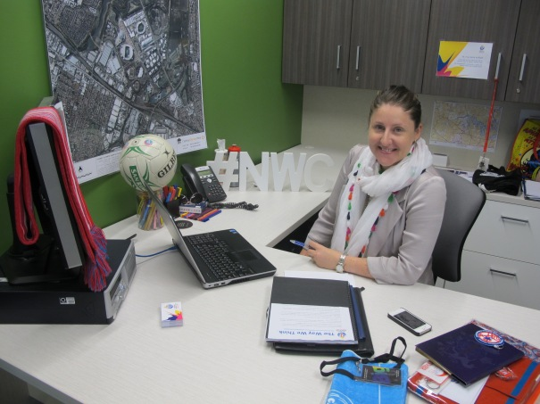 Kath Tetley working away at her new desk at Sydney Olympic Park