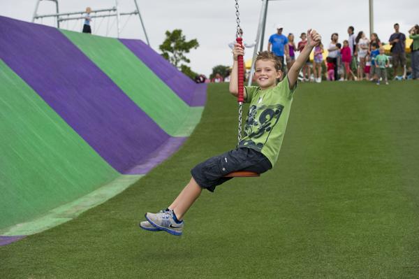 Child on flying fox at Blaxland Riverside Park