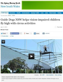Sydney Morning Herald website reporting on Guide Dogs NSW circus arts day