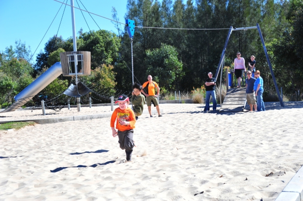 Kids playing on flying fox
