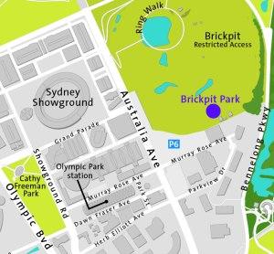 Map showing location of Brickpit Park