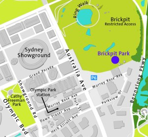Map showing location of Brickpit Park