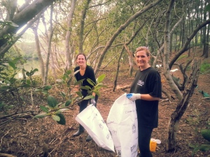 Ladies cleaning up in the mangroves