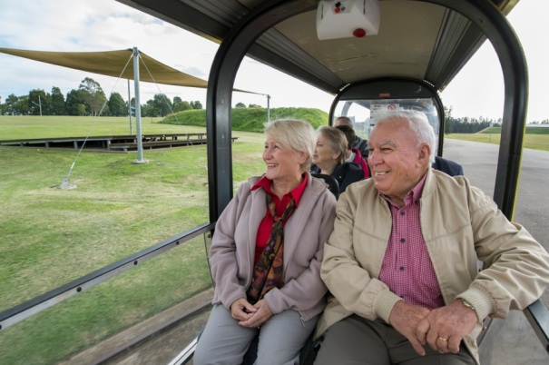 Seniors on a train tour