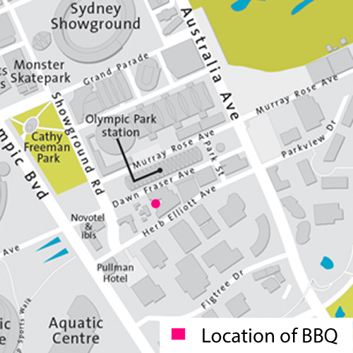Map showing location of bbq at cba