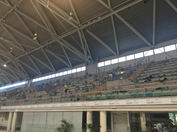 Grandstand being removed