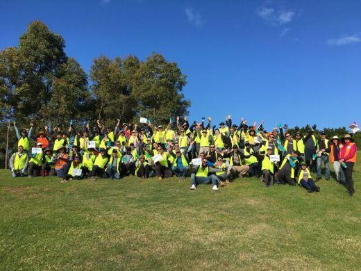 Corporate volunteers group photo